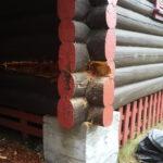 Tømmerbygg råte i lafteknute